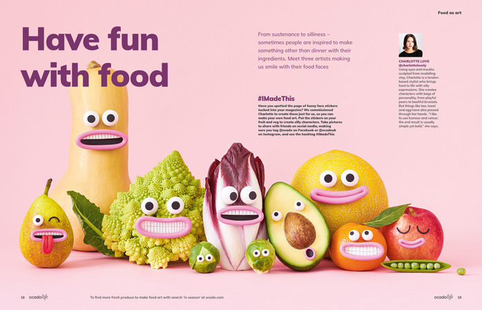Spread from feature on amusing food, Ocadolife magazine